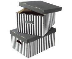 COMPACTOR Set di 2 Scatole in cartone ondulato, Con maniglie, Impilabili, Nero, 40 x 31 x H.21 cm, RAN613