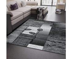 VIMODA Tappeto Moderno per Salotto, Grigio, Nero, Crema, con Motivo Floreale, 80 x 300 cm