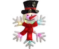 WeRChristmas - Decorazione natalizia a forma di pupazzo di neve su fiocco, alto 50 cm, illuminata da 18 luci LED a colori cangianti