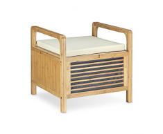 Relaxdays Poggiapiedi, sgabello, mobiletto in bambù con cuscino, per bagno ingresso HxLxP: 46x50,5x50 cm, marrone chiaro