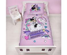 DMNBELDJ001UK3 - Set di biancheria da letto per bambini, motivo: Minnie, motivo: unicorni
