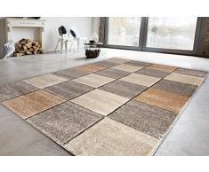 Luxor Living Webteppich Vienne Design Teppich Schachbrett Geometrisches-Muster Tappeto, Polipropilene, Grigio/Beige, 140 x 200 cm