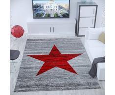 Vimoda Tappeto Moderno a Pelo Corto, Motivo a Stella, Colore Rosso e Grigio, 80 x 250 cm