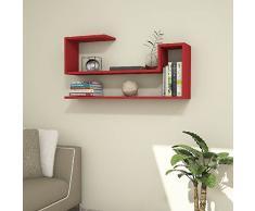 Homemania Mensola Airy, Legno, Rosso, 100x20x50 cm