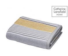 Catherine Lansfield Textured Stripe Asciugamano per Le Mani, Cotone, ocra, W50cm x L85cm