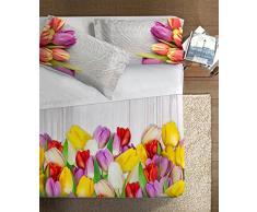 Ipersan Tulipani Parure Lenzuola fotografico Piazzato Fine-Art, 100% Cotone, Multicolore, Matrimoniale, 260x300x1 cm