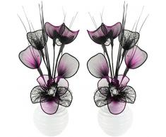 Flourish Creative Florals Coppia di Fiori Artificiali Viola e Nero in Vaso Nero, Decorazioni da Tavolo, Accessori per la casa, Regali, Ornamenti, Vetro, Black/Purple in White Vase, 11.5 x 11 x 32 cm