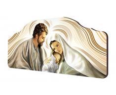 Lupia Quadro Capezzale Sacro Nativity Brown Su Tavola Lavorata 42x92 Cm