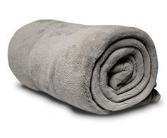 Soleil docre 511048 Coperta Matrimoniale in pile di poliestere, colore: grigio chiaro, 220 x 240 cm