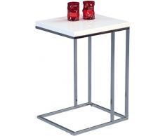 HomeTrends4You 581636 tavolino, seghetto, bianco/metallo cromato, 38 x 43 x 62,5 cm