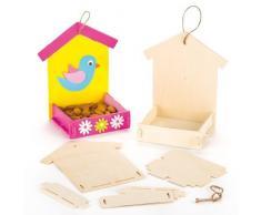 Baker Ross - Kit fai da te in 3 pezzi con nido a forma di casetta e mangiatoia in legno per bambini da dipingere disegnare e appendere.