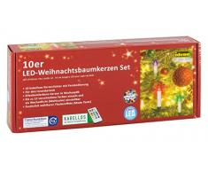Idena - Candele a LED senza fili per albero di Natale multicolore, altezza candele 10 cm
