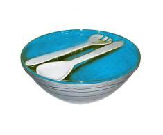 Zakdesigns Onda insalatiera con Posate, Bianco/Blu