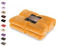 DecoKing- Coperta in microfibra, pile morbido, Tessuto, 170 x 210 cm, Arancione