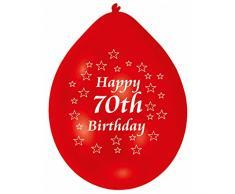 Amscan 22.8 cm Buon 70 ° Compleanno 10 Palloncini in Lattice