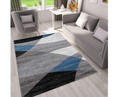 VIMODA Moderno Soggiorno Tappeto Disegno Geometrico Erica in Marrone Beige - Öko-Tex Certificato - Blu, 60 cm x 110 cm