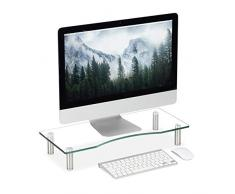 Relaxdays Supporto Monitor, Alzatina per TV, Standing Computer Desk, Rialzo Scrivania, Regolabile, 56x24 cm, trasparente