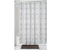 InterDesign Vintage Tile SC Tenda per vasca da bagno, Tende doccia tessuto in poliestere 183 cm x 183 cm con asole robuste, talpa/celeste