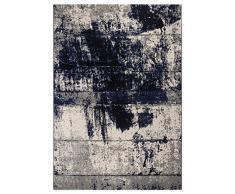 Andiamo Vintageteppich Kurzflor Puerto Tappeto, Blue-Crema, 80 x 150 cm