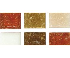 Rayher 1453031, Set tessere per mosaico, tasselli in vetro, piastrelle ideali per decorazioni e fai da te, 1x1 cm, ca. 1300 pz, sfumature di marrone