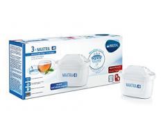 Brita Filtri per Acqua Maxtra+ Pack3 Caraffa Filtrante, Confezione da 3 mesi con 3 Maxtra+, Carboni Attivi, Bianco, 3 Filtri, 3 Unità