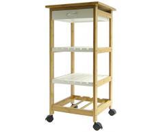 Regal Arte Import 13691-Tavolo da cucina in bambù, con scaffale e cassetto, colore: bianco/marrone chiaro