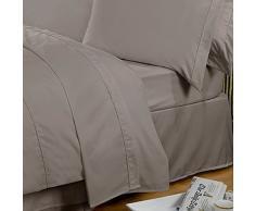 Highams 100% cotone egiziano Plain Dye Lenzuola matrimoniali-Diversi colori e misure, Cotone, Portobello, 178 x 1 x 260 cm