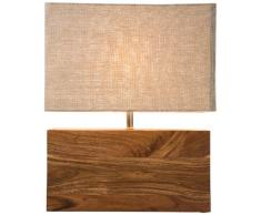 KARE Lampada da Tavolo Rectangular Wood Nature, Marrone, 43 x 10 x 33 cm