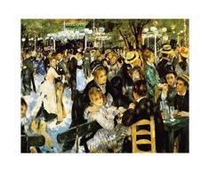 Legendarte P-174 Quadro di Pierre Auguste Renoir - Danze al Moulin de la Galette, Stampa digitale su tela, Multicolore, cm. 80 x 100