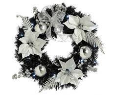 WeRChristmas - Ghirlanda di Natale Illuminata, 20 LED Bianco Freddo, Nero/Argento, 60 cm
