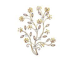 Premier Housewares 2800597 Wall Art Strass Fiore in Metallo Specchiato con 6 Candele Tealight, Bronzo