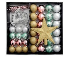 WeRChristmas– Palline di Natale infrangibili lussuose, plastica, Gold/Argento/Pink/Blue, 50 Piece