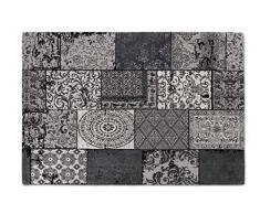 LIFA LIVING Tappeti da Salotto Moderno in ciniglia, Tappeti di Design a Quadri (Grigio Nero, 80 x 150 cm)