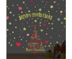 Wallflexi Natale Decorazioni da Parete Adesivi murali Magical Set di Decorazioni per Albero di Natale Decalcomanie Soggiorno Bambini Scuola Materna Ristorante Hotel Home Office Décor, Multicolore
