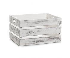 Zeller 15132 Cesto Contenitore Vintage-Bianco, Legno, Bianco, 39x29x21 cm