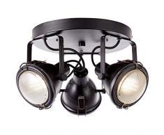 Brilliant Bentli - Faretti da soffitto orientabili a 3 luci, stile industriale, 3 x GU10, adatti per lampade a riflettore fino a max. 7 W