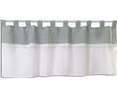 Startex 2415 - Tenda con Passanti, Stile Country, 48 x 140 cm, Colore: Bianco/Verde/Verde
