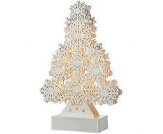 WeRChristmas-fiocco di neve, motivo: albero di Natale, decorazione in legno, Legno, White, small