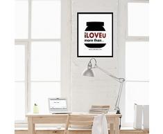 Walplus 29x36.25 cm adesivi da parete cornice NUTELLA citazione rimovibile autoadesivo arte murale decalcomania vinile DECORAZIONE CASA fai-da-te VIVENTE ufficio camera letto carta parati