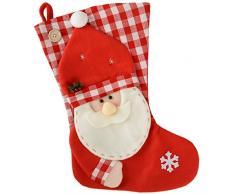 WeRChristmas - Calza natalizia con Babbo Natale, 48 cm, rosso/bianco