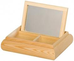 Artemio - Mini cassettiera a 2 vani con specchio, 20 x 16 x 5 cm, in legno, colore: beige