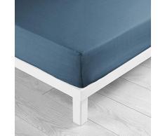 Douceur D intérieur Lina Lenzuolo 2Persone, Cotone, Blu Notte, 160x 200cm