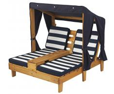 KidKraft 524 Doppia sedia per bambini con portabicchieri per esterni- Miele e blu navy