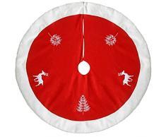 WeRChristmas-Renna 122 cm-Copribase per albero di Natale, colore: rosso/bianco