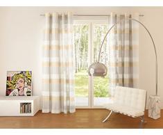 Splendid Collezione Fabia - Tenda con Occhielli, 140 x 245 cm, Colore Bianco/Beige