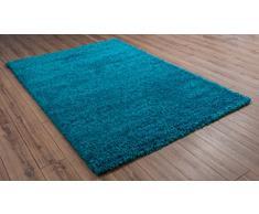 VIMODA Moderno Tappeto Shaggy Pelo Alto, Runner, Soft Touch, a Pelo Lungo Tappeto Uni Teal; Dimensioni: 80 x 150 cm, Colore: Turchese