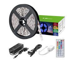 LE Striscia LED 5m 36W RGB Striscia Luminosa 1200lm 300 LED Flessibile Kit completo con 44 tasti Telecomando IR & Alimentatore Led Strip Illuminazione per Decorazioni Interni Soggiorno Automobili
