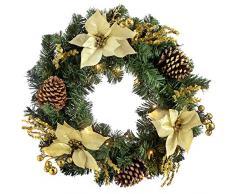 WeRChristmas 60 cm Decorato Pre-Lit Corona Decorazione di Natale illuminato con luci 20 Bianco freddo LED, oro / crema