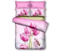 decoking Premium 01158Â Copripiumino matrimoniale 200Â x 220Â cm con 2Â federe 80Â X 80Â amaranto 3d in microfibra completo letto lenzuola fiori motivo floreale rosa pink Sandy