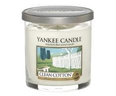 Yankee candle Clean Cotton Candela Pillar Décor Piccola, Vetro, Giallo, 8.7x8.5x8.8 cm